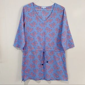 Serena & Lily Coral Tie Waist Beach Cover-Up